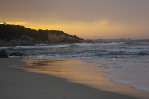 Saullēkts Villassimius pludmalē