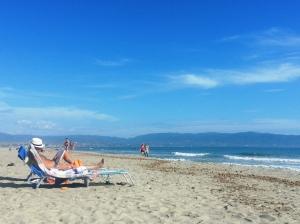 Cagliari, Poetto pludmale oktobra beigās